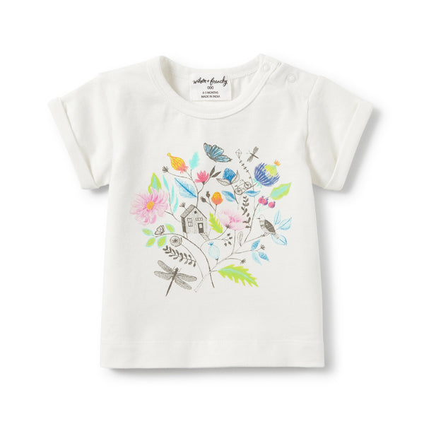 Wilson and Frenchy Tee - Secret Garden Rolled Cuff Tee