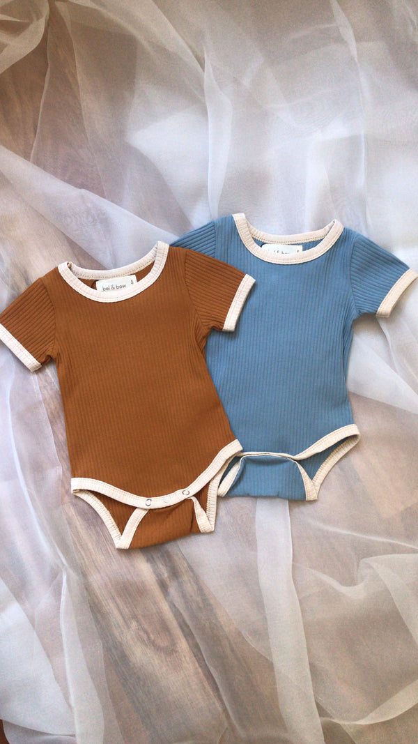Retro Ringer Ribbed Bodysuit - Dusty Blue - Only 1 Left! (18-24M)