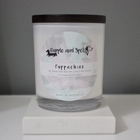 dapple and spots luxury soy wax candle puppachino