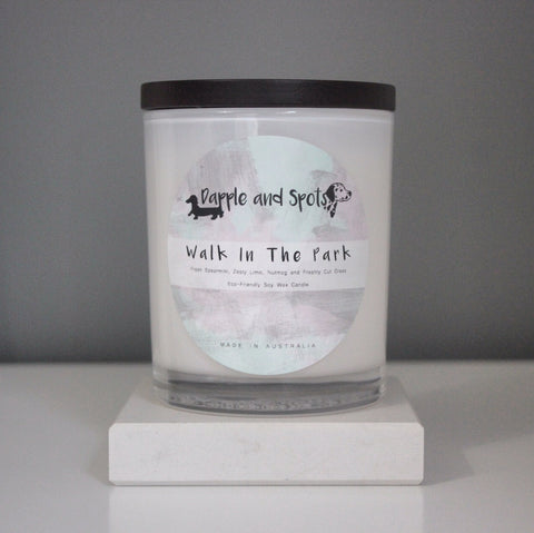 dapple and spots luxury soy wax candle walk in the park