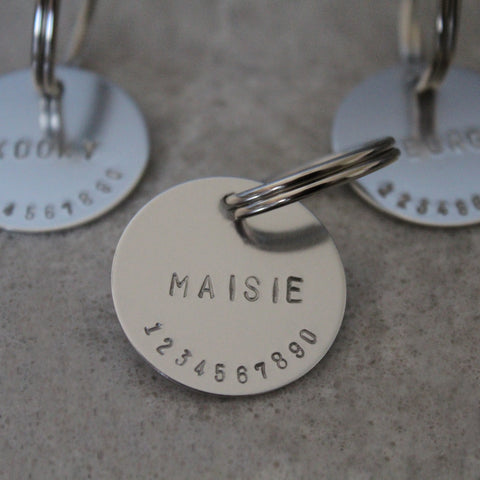 dapple and spots hand stamped dog ID tag silver