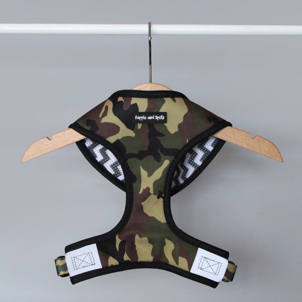 dapple and spots camo dog harness