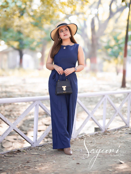 Blue Cotton Linen Jumpsuit