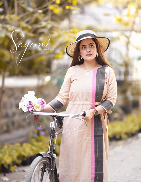 Beige Cotton Linen Dress