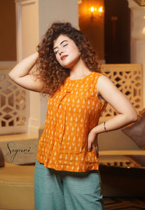 Ikat Orange Top by Sayuri.