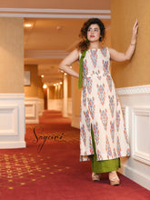 Offwhite Ikat Kurta with Skirt