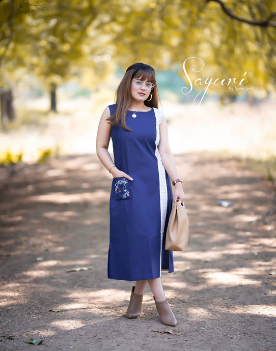 Blue Linen Long Dress
