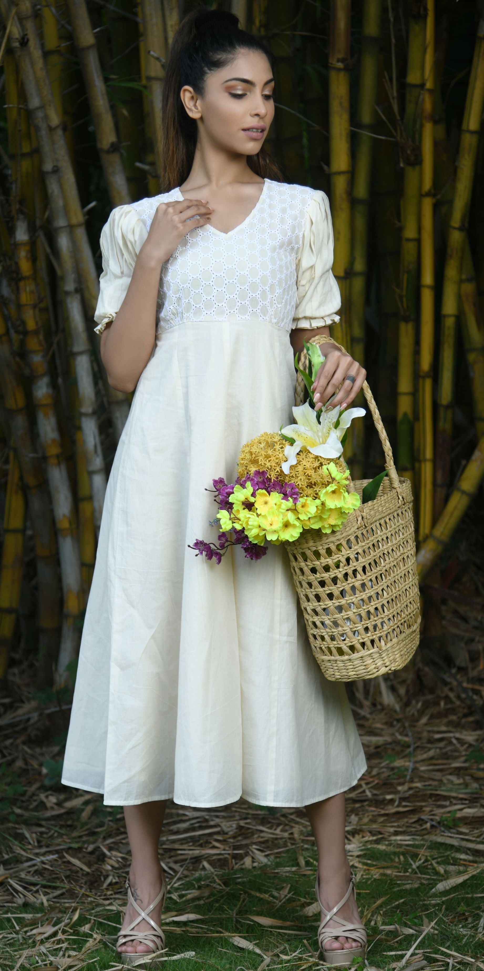 Cotton Handloom Maxi Dress By Sayuri