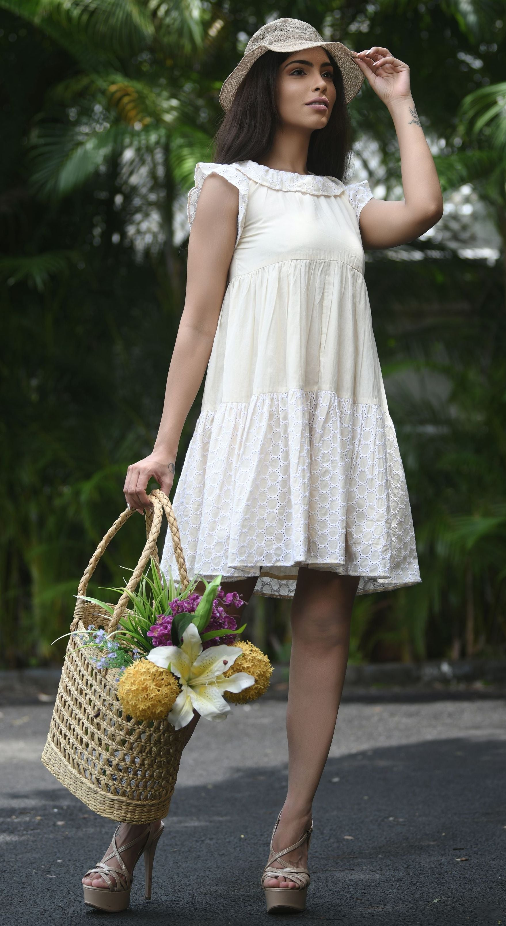 Cotton Handloom Mini Dress By Sayuri