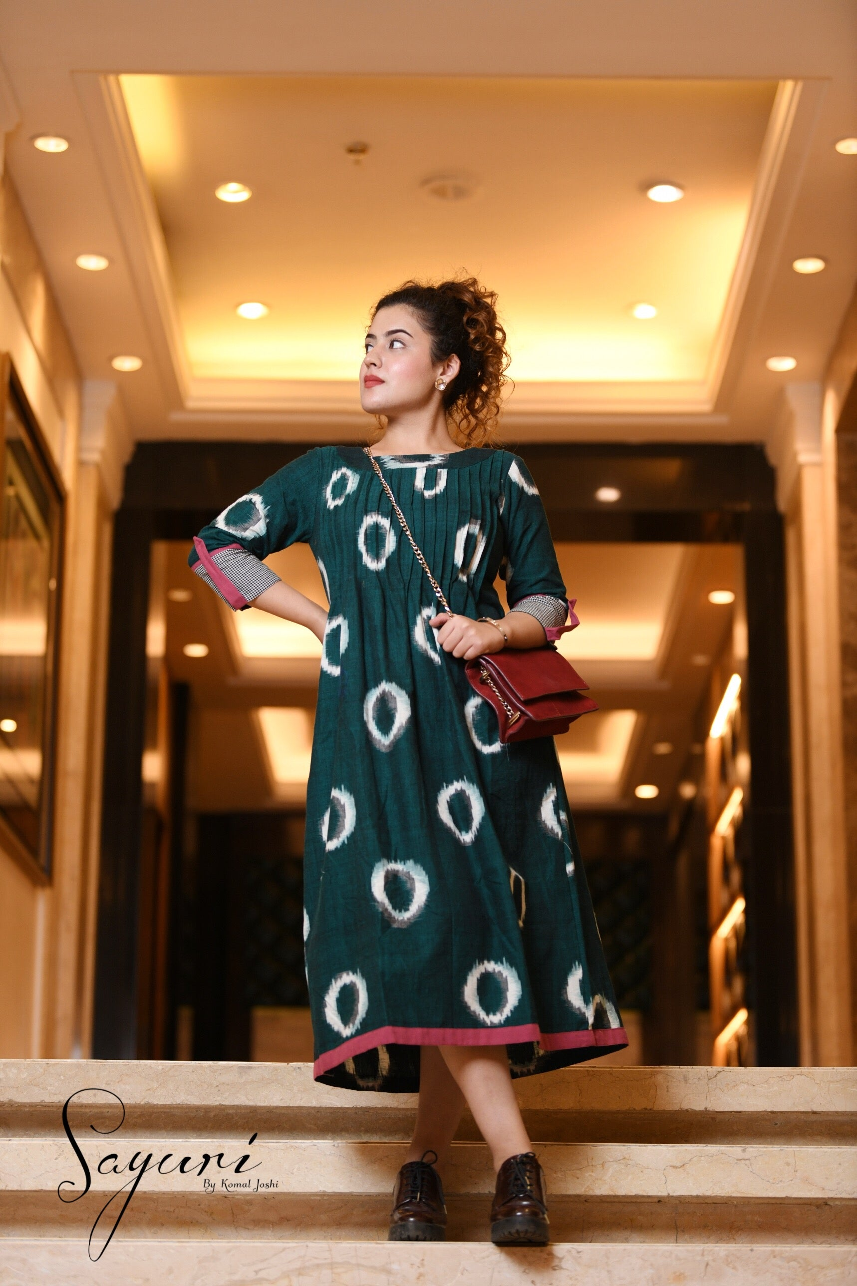 Ikat Green Cotton Dress by Sayuri.