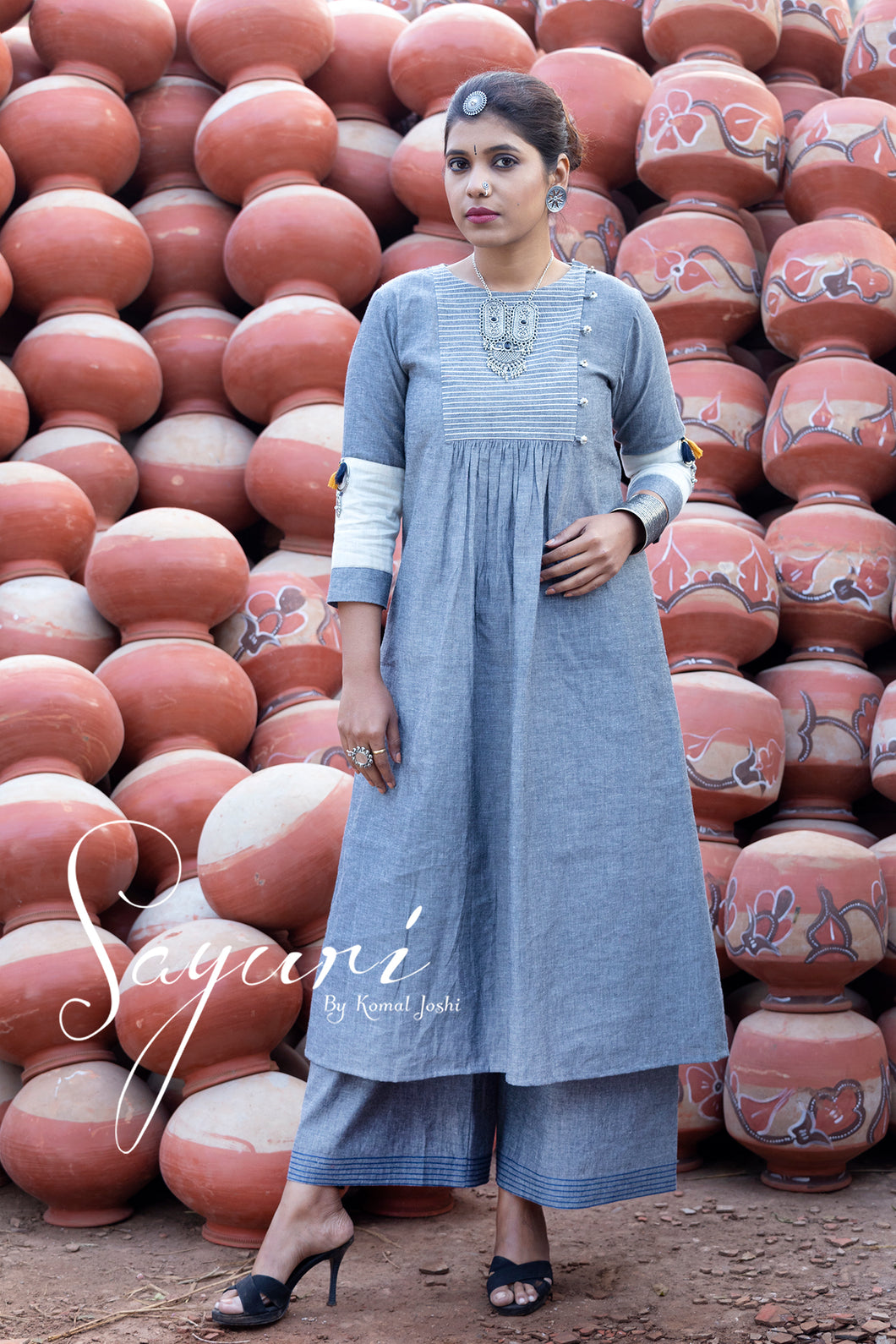 Grey handloom dress with pallazo