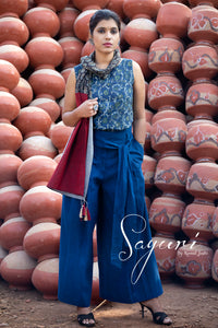 High waist handloom cotton pants by Sayuri.