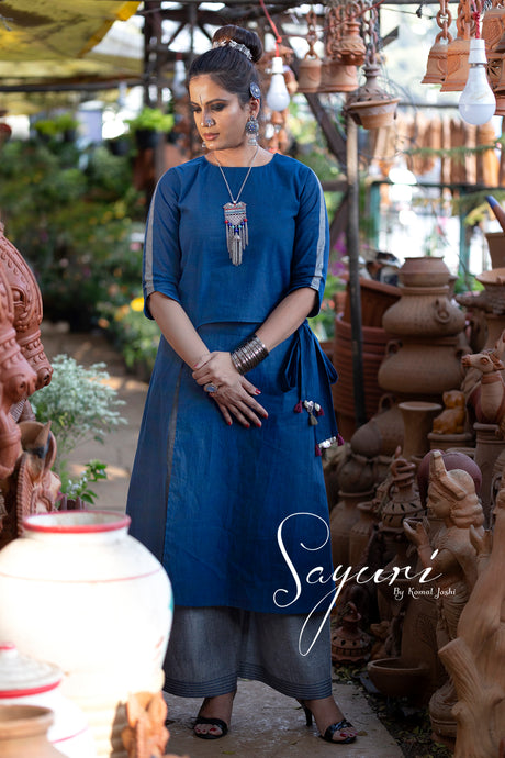 Overlap Blue cotton handloom kurta with pallazo