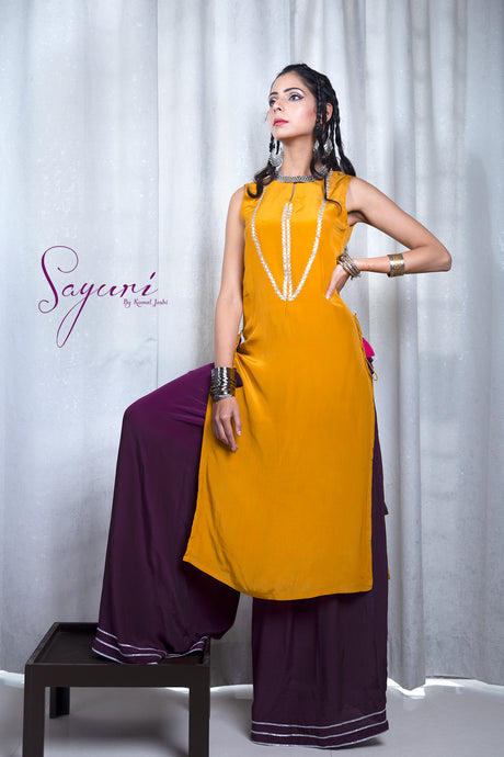 Long Crepe Kurta with pallazo