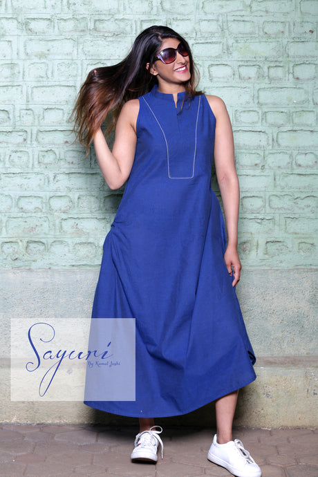 Blue handloom cotton long dress