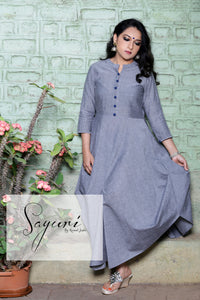 Grey Cotton Dress by Sayuri.