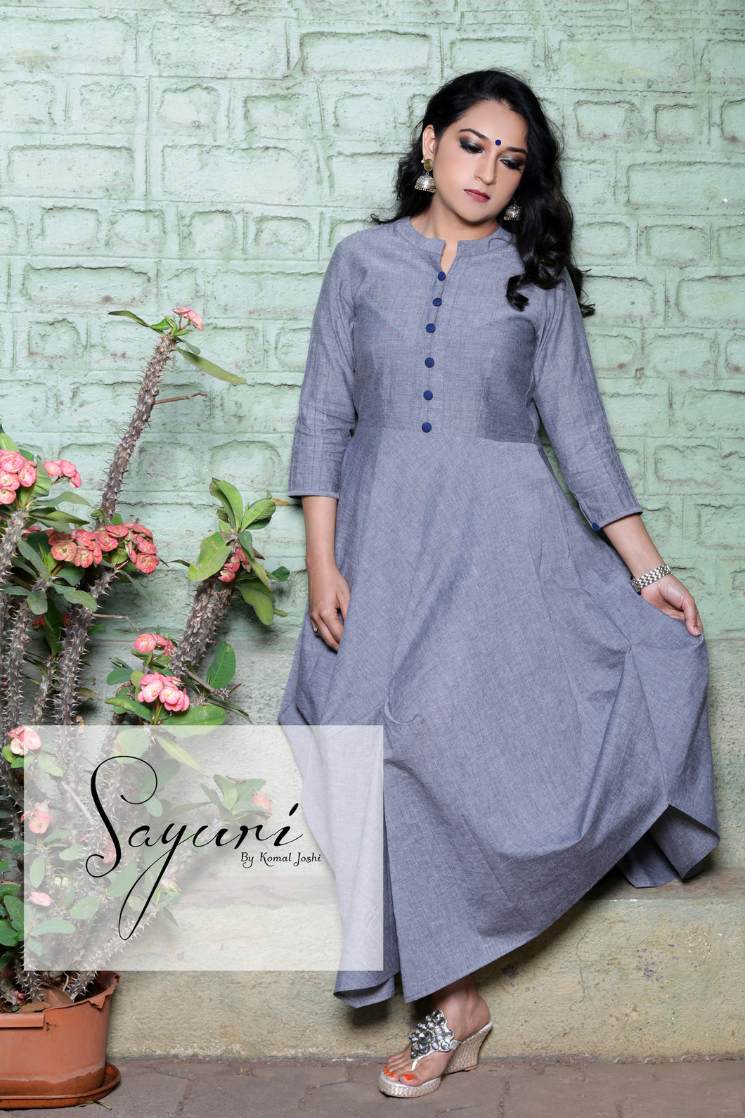 Grey handloom cotton dress with blue buttons