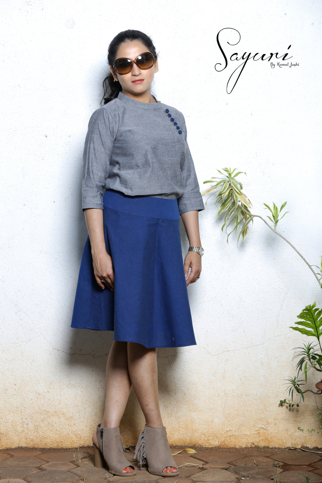 Grey handloom flat collared top, blue handloom skirt