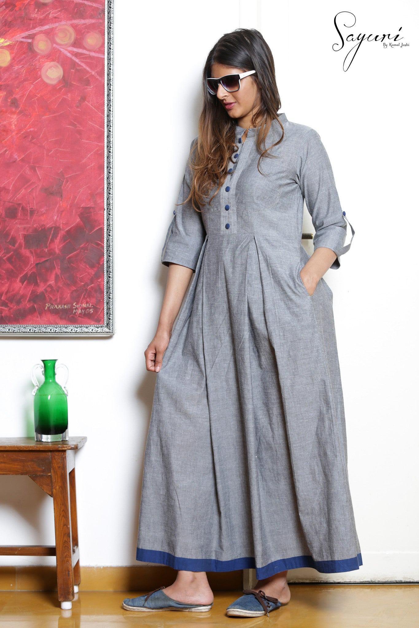 Grey Cotton  Long Dress By Sayuri