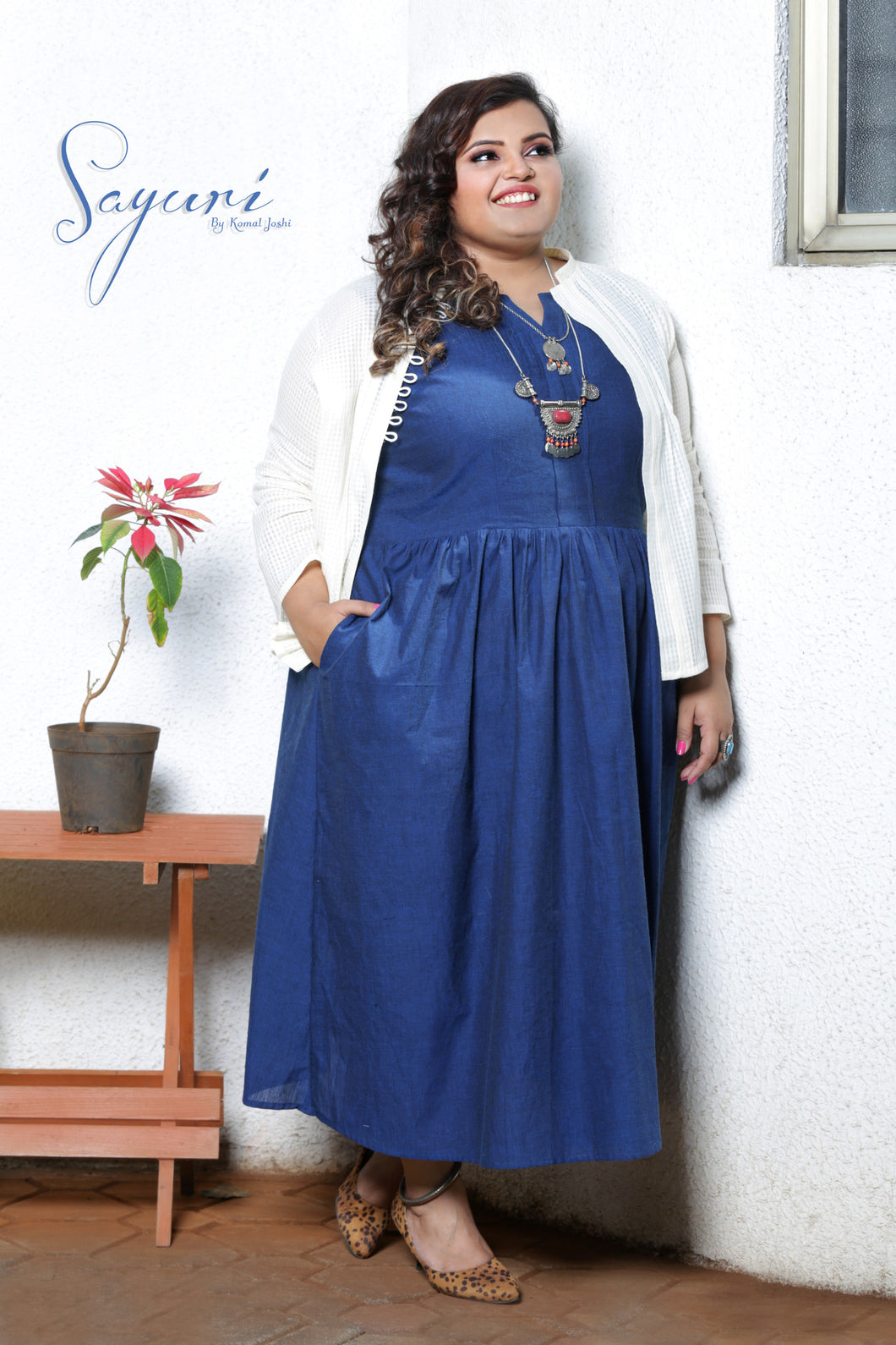 White jacket/ blue handloom cotton frock