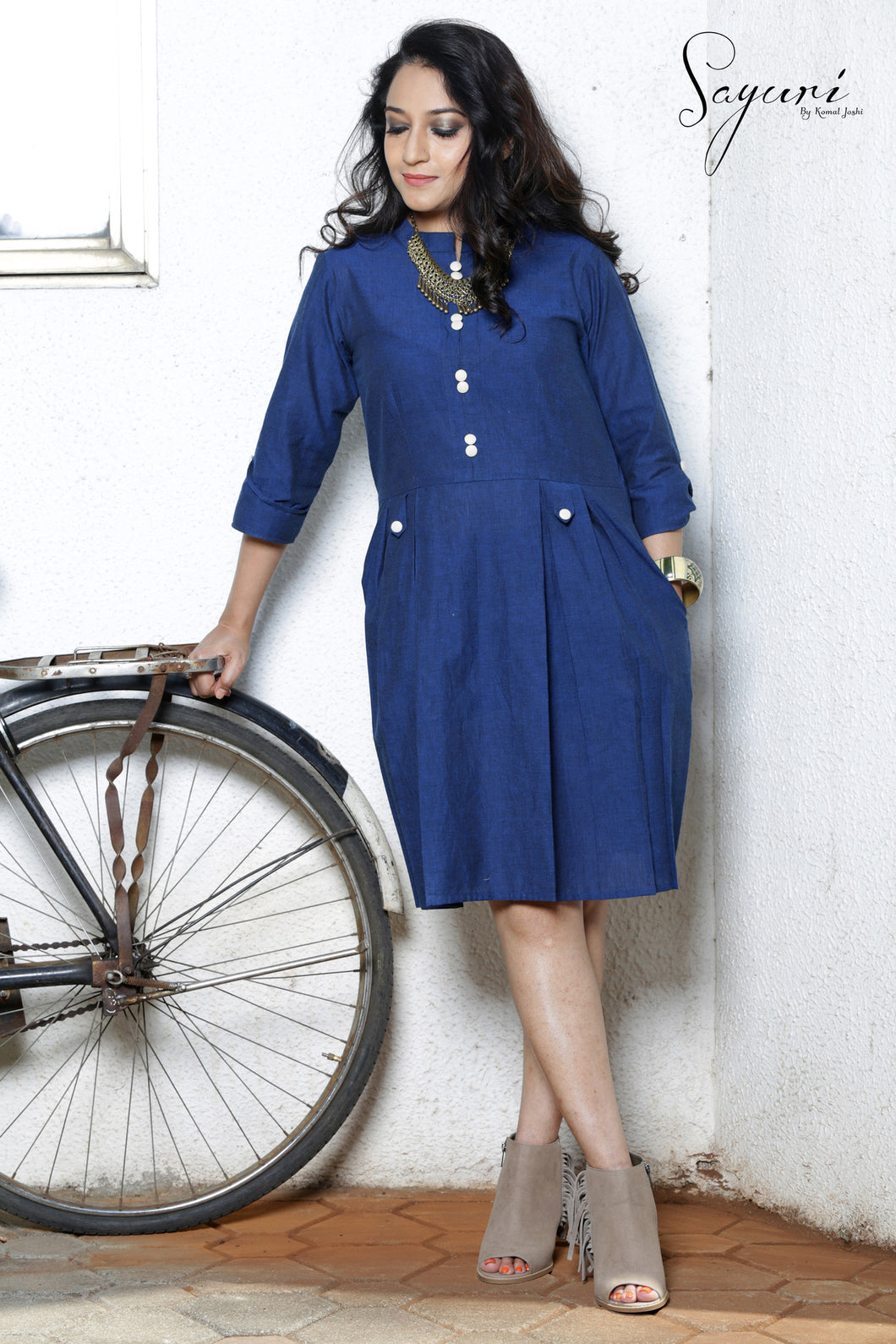 Short blue handloom dress