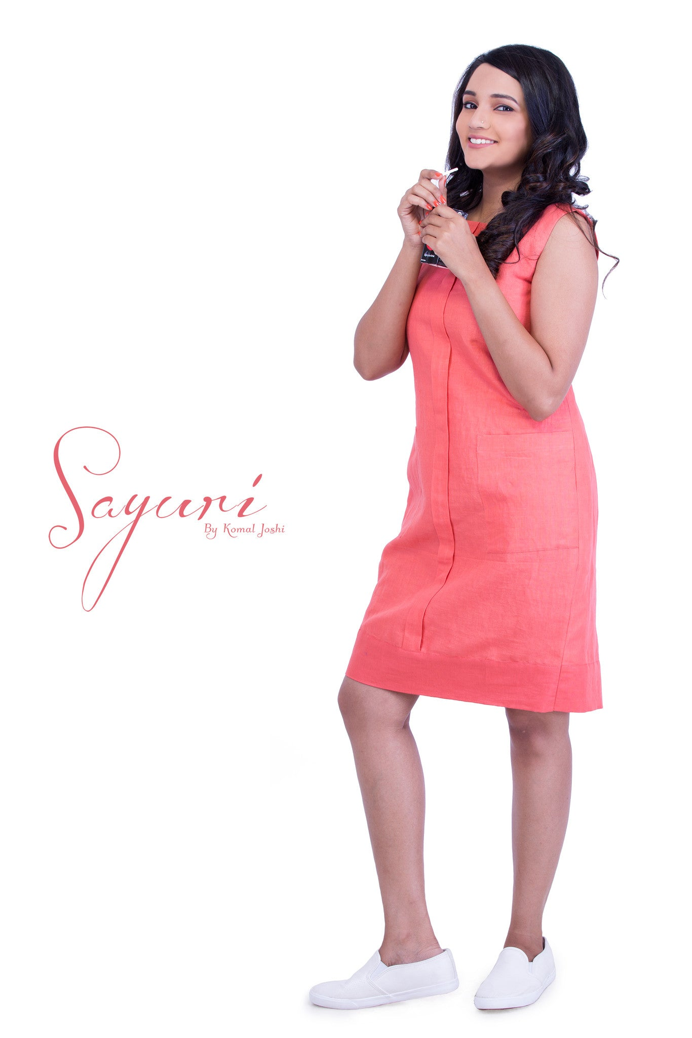 Peach Cotton linen Dress by Sayuri.