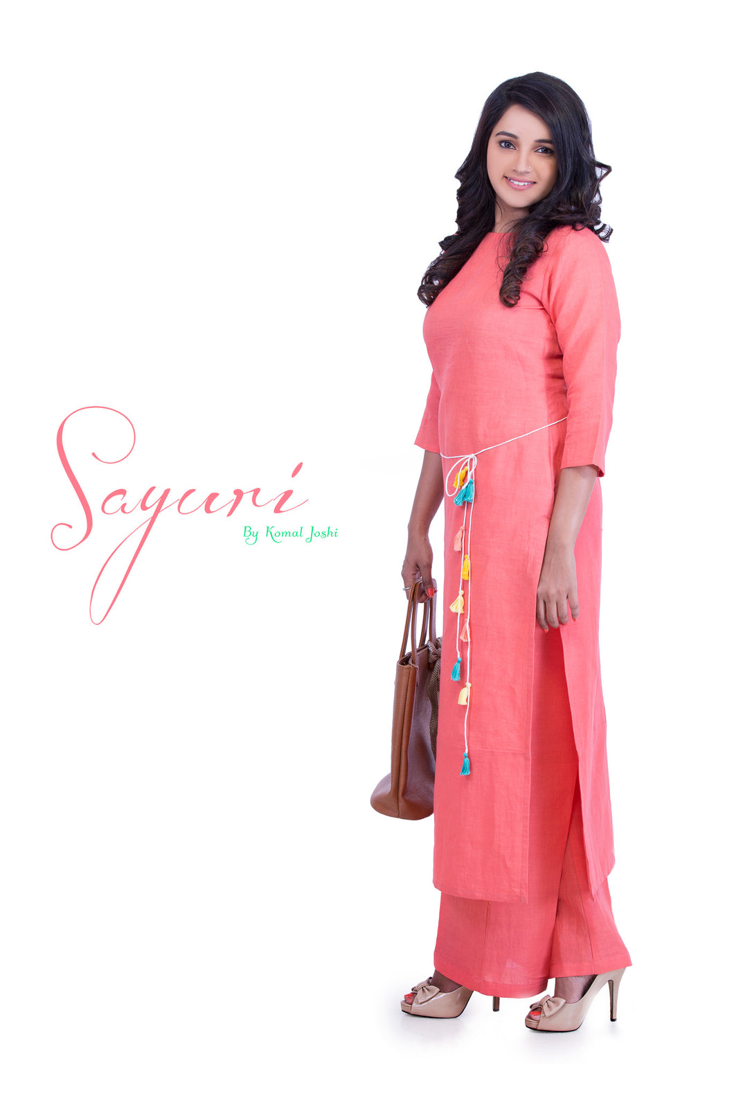 Peach long kurta with palazzo