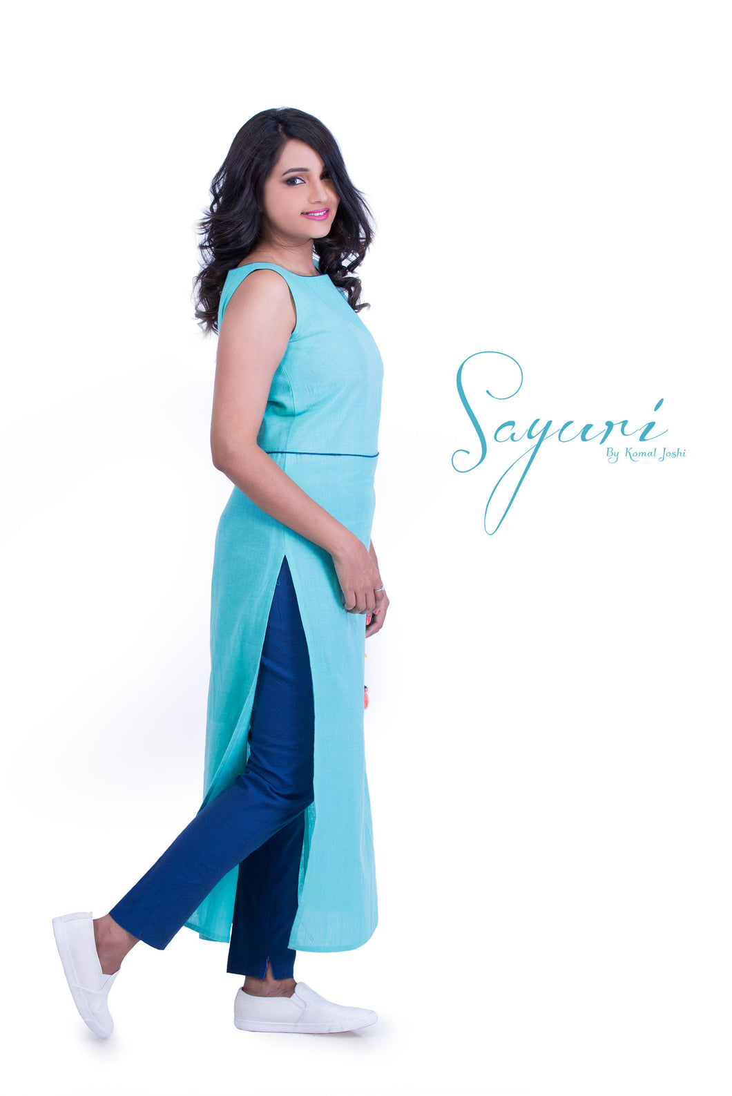 Skyblue cotton linen long dress