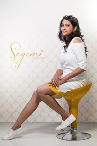 White ochre Cold Shoulder Dress by Sayuri.