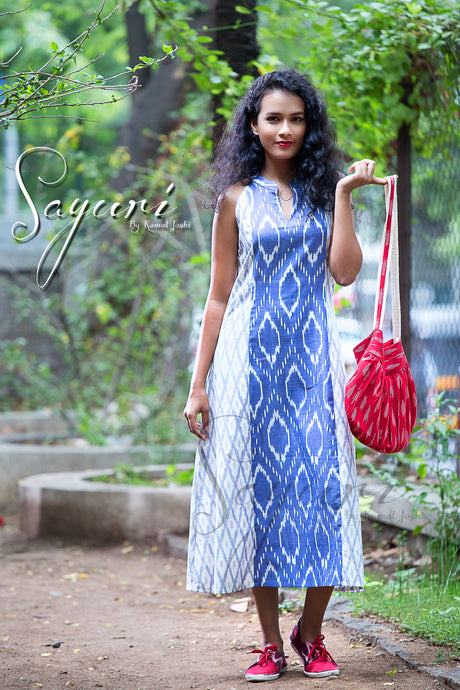 Blue Ikat Dress
