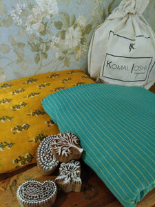 Striped Hand Block Printed Mul Cotton Fabric