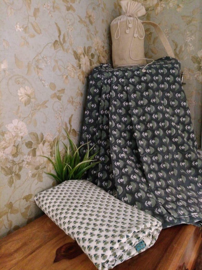 Grey Floral Hand Block Printed Cotton Fabric