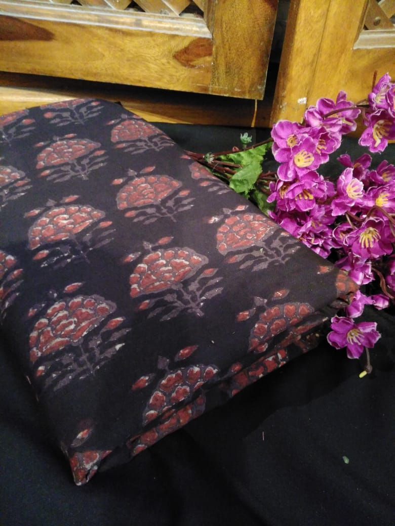 Black Floral Ajrakh Fabric