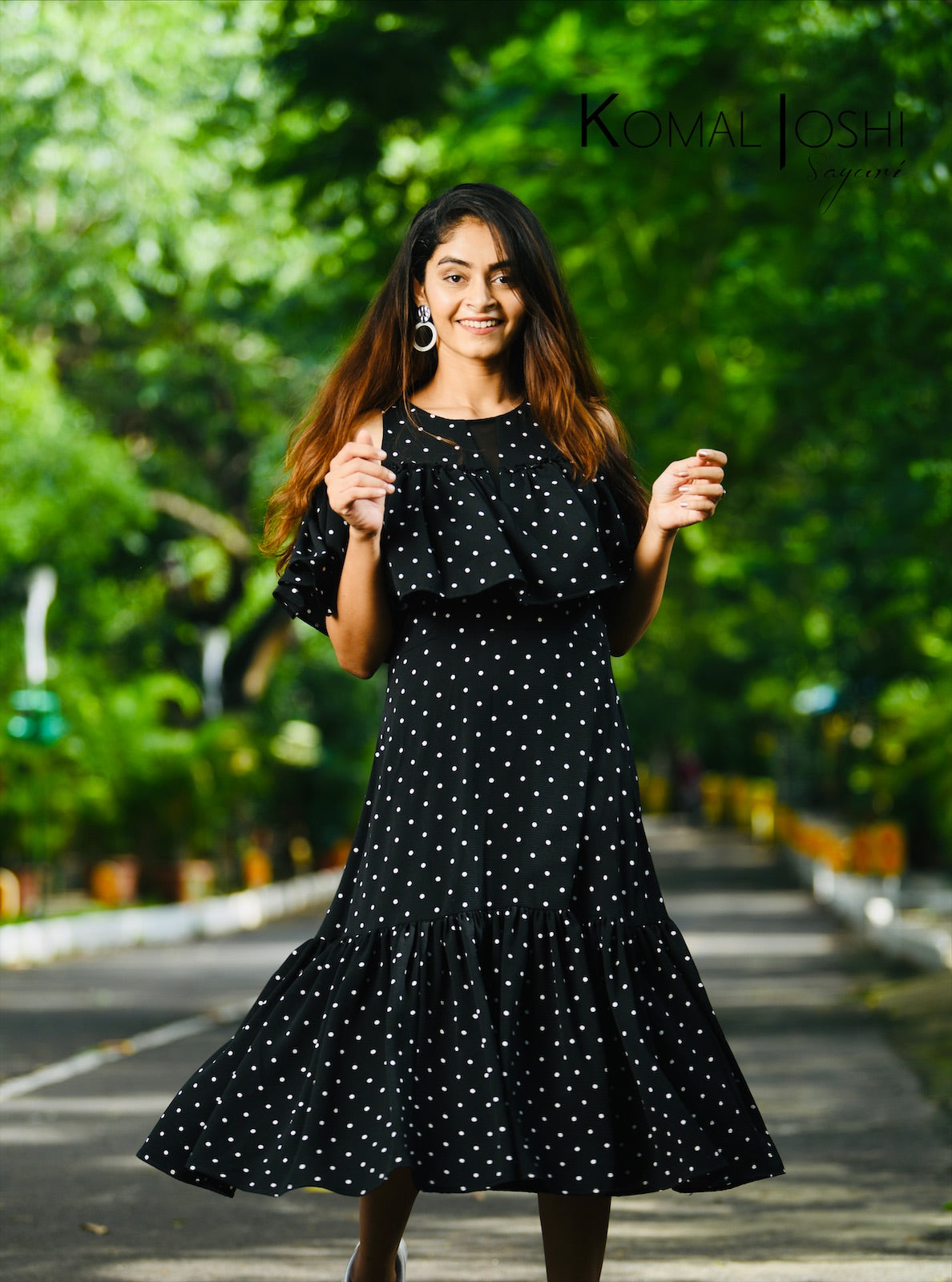 Black Polka Dot Georgette Dress By Sayuri.
