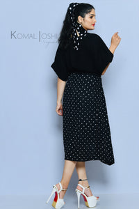 Black Georgette Polka Dot Maxi Dress By Sayuri.