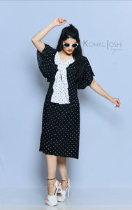 Black Georgette Polka Dot Midi Dress By Sayuri