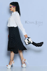 Black Georgette White Polka Dot Skirt By Sayuri.