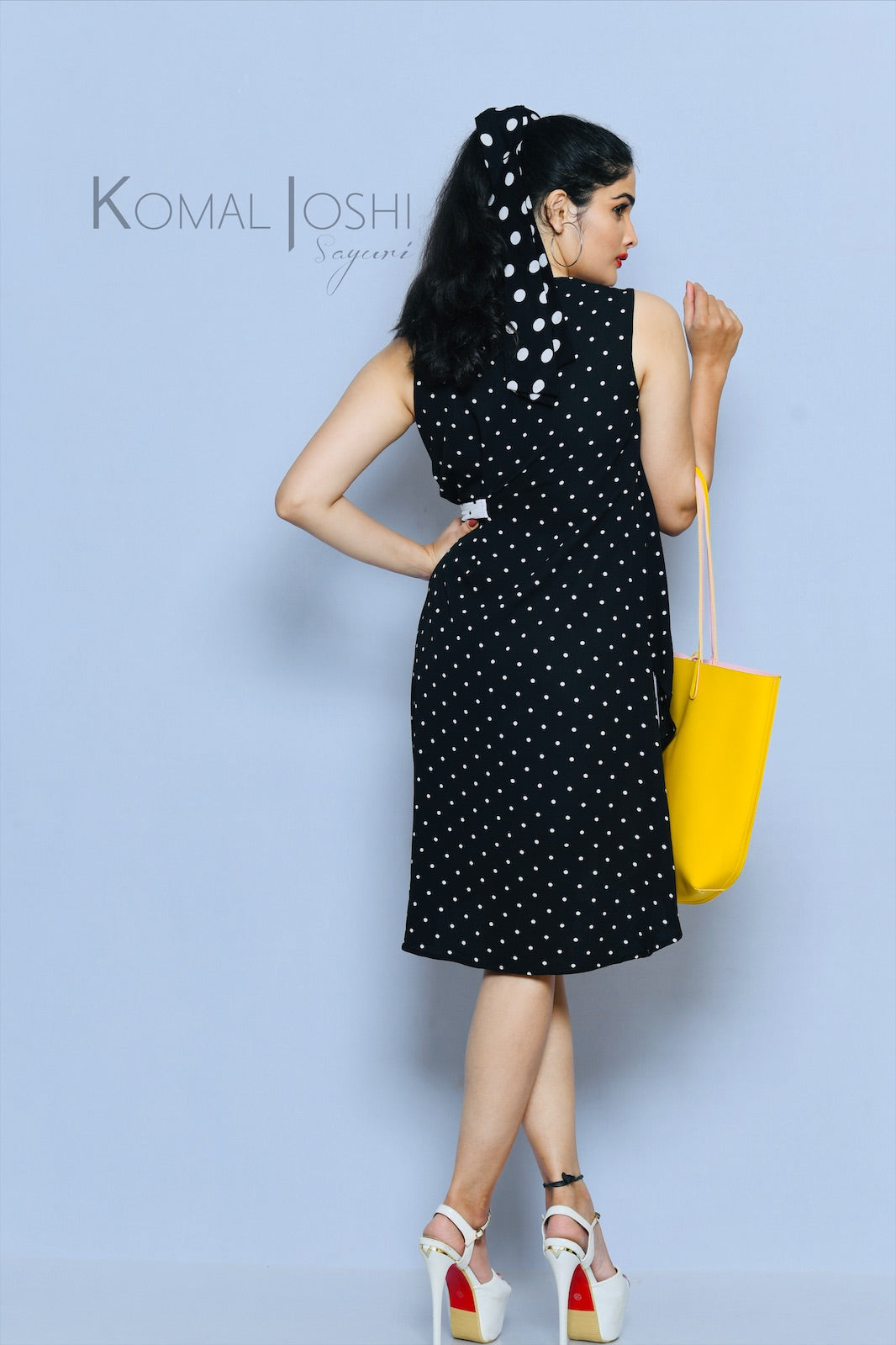 Black Georgette White Polka Dot Mini Dress By Sayuri.