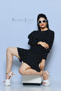 Black Georgette Polka Dot Dress By Sayuri