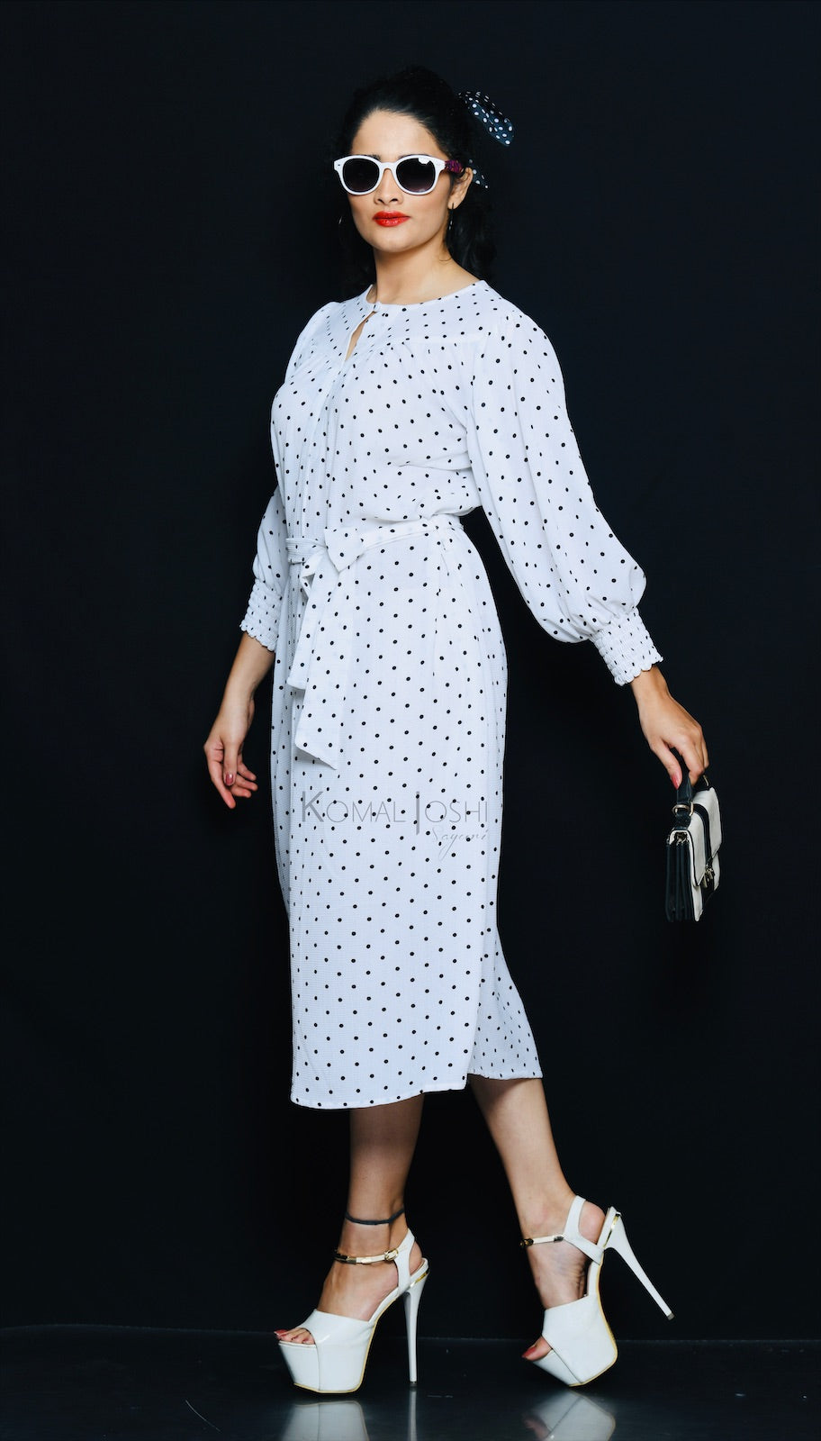 White Polka Dot Georgette Maxi Dress By Sayuri
