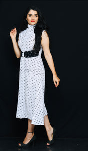 Polo Neck White Polka Dot Georgette Dress By Sayuri.