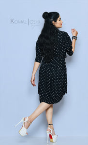 Black Georgette Polka Dot Midi Dress By Sayuri.