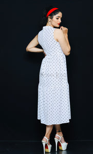 White Polka Dot Georgette Tiered Dress By Sayuri