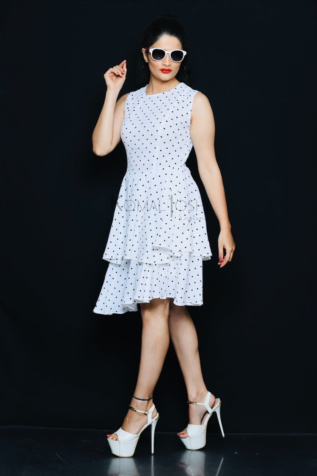 White Georgette With Black Polka Dot Tiered Dress By Sayuri.