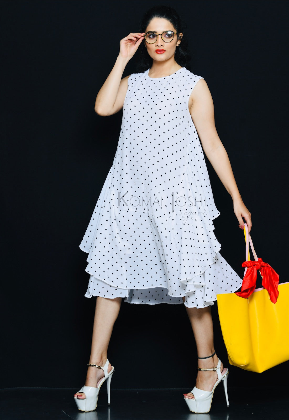 White Georgette Black Polka Dot Ruffled Dress By Sayuri.