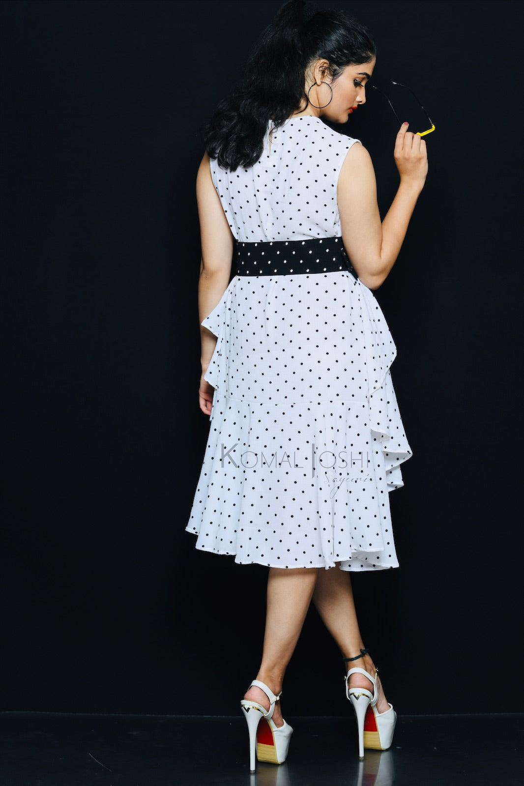 White Georgette Black Polka Dot Ruffled Midi Dress By Sayuri.