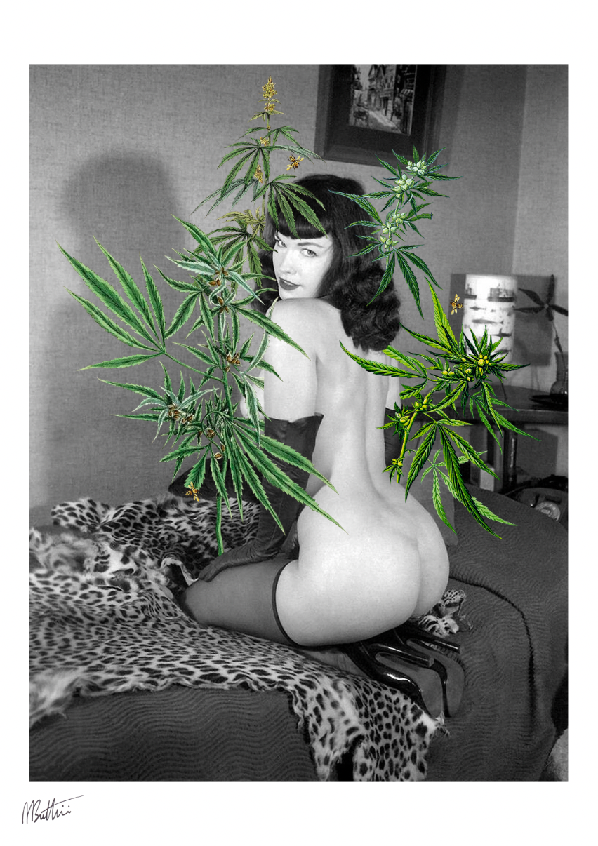 Barely Legal feat. Bettie Page - Madbutt | Australian Collage Artist & Fine Art