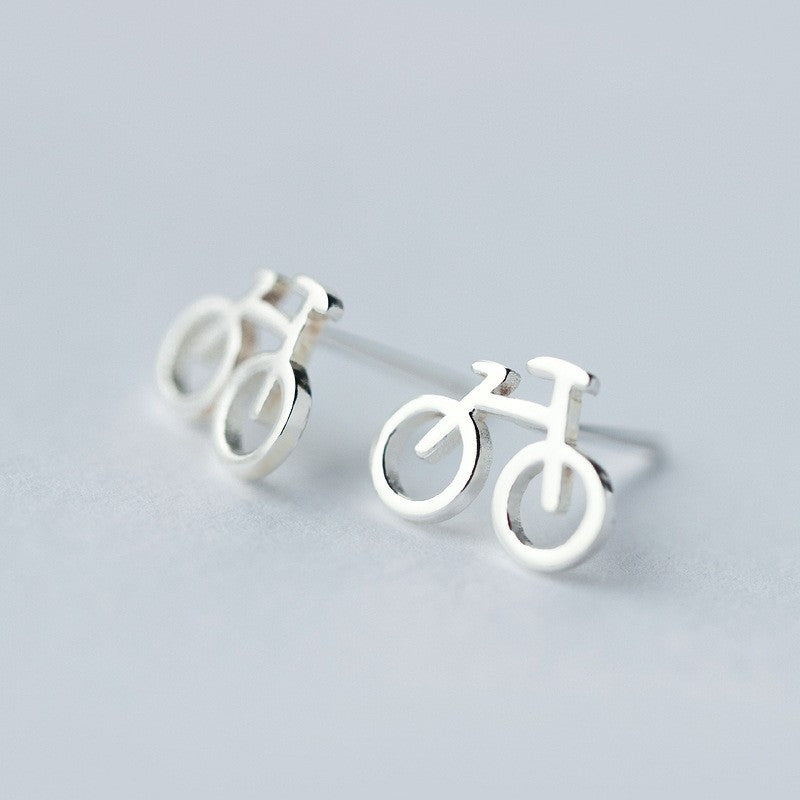 Bicycle Stud Earrings Real 925 Sterling Silver