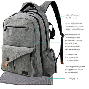 Large Capacity Gray Nappy Backpack