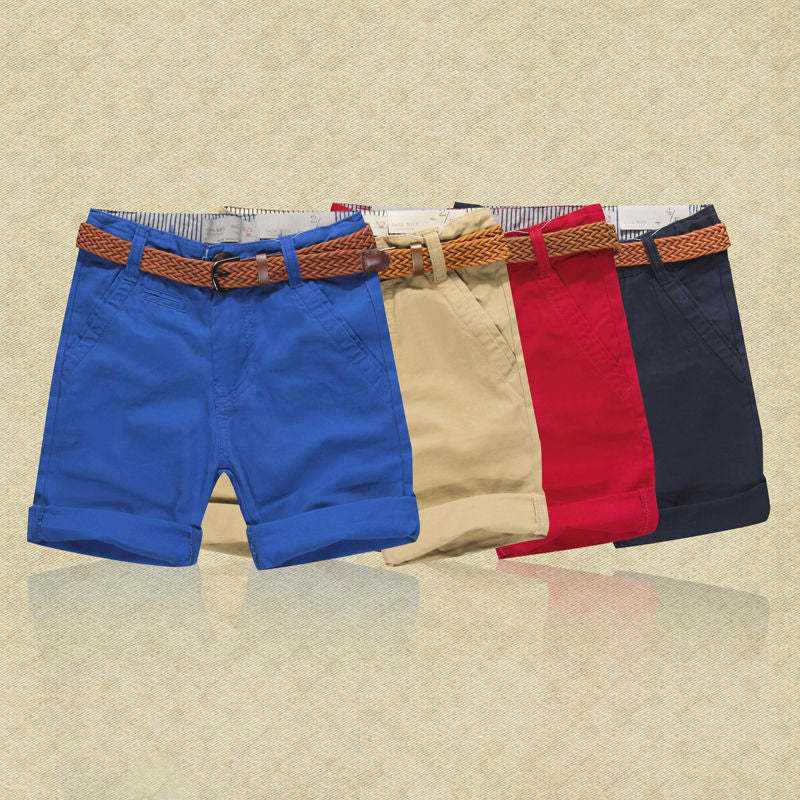 Cotton Khaki Shorts with Braided Belt
